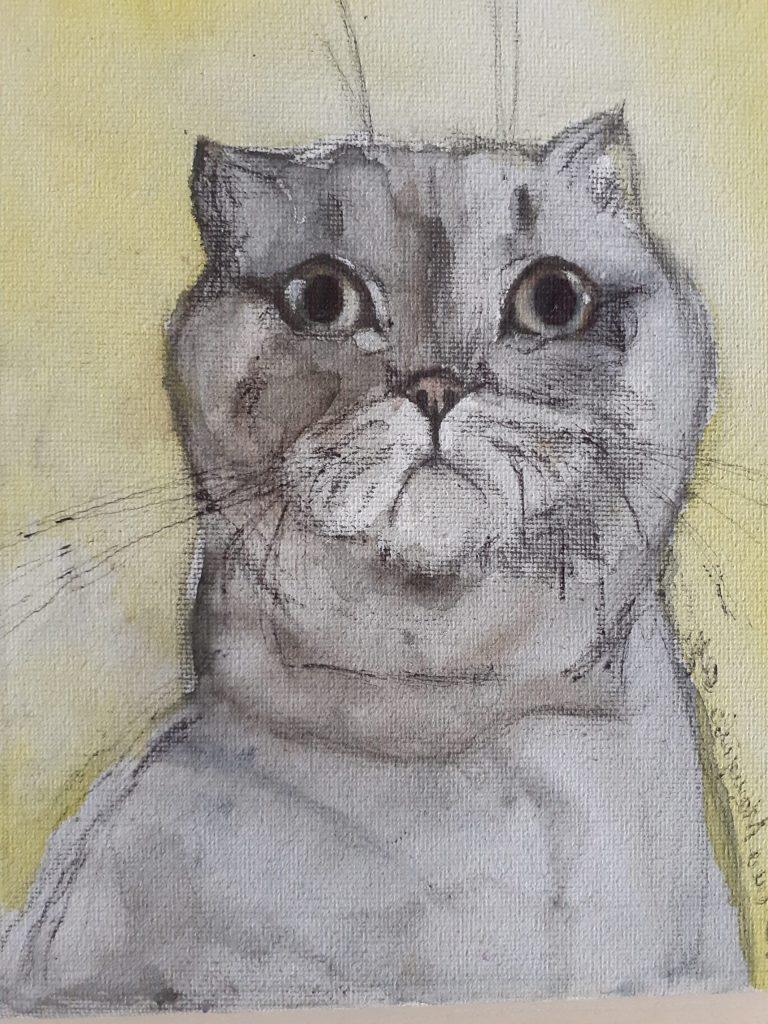Мой кот Царапка, картина акварелью май 2020